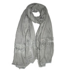 Soft crochet lace hijab shawl:grey
