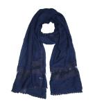 Soft crochet lace hijab shawl:Navy