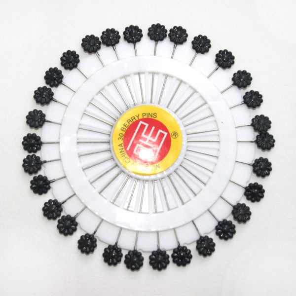 Black flower pins